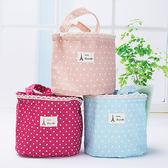 便當帶 點點 印花 萌 束口 保溫 手提袋 便當袋【YL0414】 BOBI  06/01