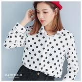 Catworld 正韓空運*復古圓點雪紡襯衫【11201220】‧F