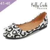 大尺碼女鞋-凱莉密碼-豹紋糖果百搭平底鞋1.2cm(41-46)【MEM001-2】白色