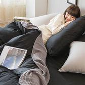 床包兩用被組 / 雙人加大【撞色系列-夜空黑】含兩件枕套  100%精梳棉  戀家小舖AAA315