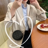 韓版時尚可愛側背包女小包斜背洋氣網紅小圓包迷你菱格鏈條包   極有家