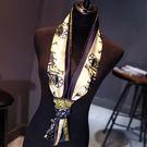 小絲巾女士春秋季百搭長條方巾韓國領巾細窄圍巾冬季紗巾領帶裝飾