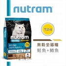 【nutram紐頓】無穀挑嘴全齡貓,T24鮭魚+鱒魚,加拿大製(1.13kg)