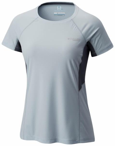 【Columbia】女款涼感快排野跑短袖上衣-灰藍AR1962(GL)