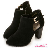 amai小性感鏤空絨布高跟踝靴 黑