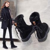 雪靴 保暖短筒短靴棉鞋防滑中筒厚底加絨雪棉 巴黎春天