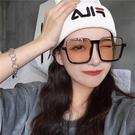 墨鏡韓版個性網紅款超大框方框眼鏡女圓臉顯臉小潮茶色《蓓娜衣都》
