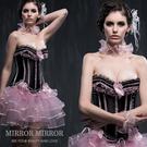 馬甲 維多利亞黑粉色浪漫水鑽塑身馬甲-束身、表演服_蜜桃洋房