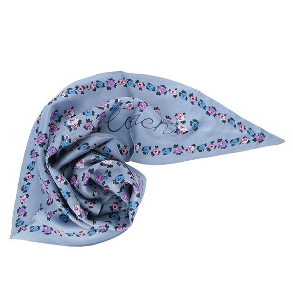 【COACH】茶玫瑰圖案菱形絲巾(落日藍) 89796 TWI