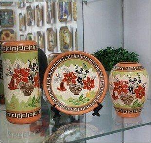 現代家居客廳臺面擺設陶瓷花瓶花器/陶藝工藝品花瓶三件套