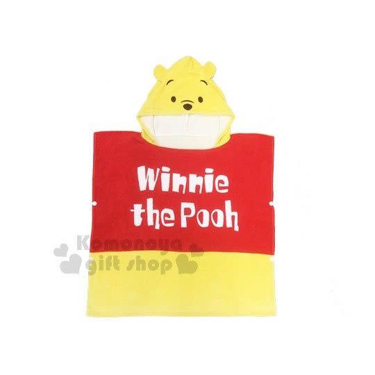 〔小禮堂〕迪士尼 小熊維尼 造型棉質連帽浴巾《黃紅.大臉》60x60cm 4992272-57708