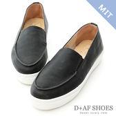 厚底鞋 D+AF 輕快步伐.MIT立體縫線厚底懶人鞋*黑