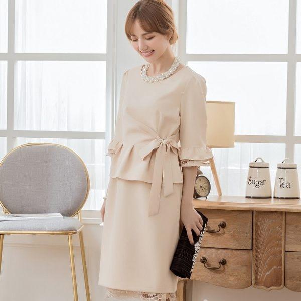 小三衣藏[88155-S]氣質純色腰荷葉邊綁結遮肚兩件套名媛洋裝