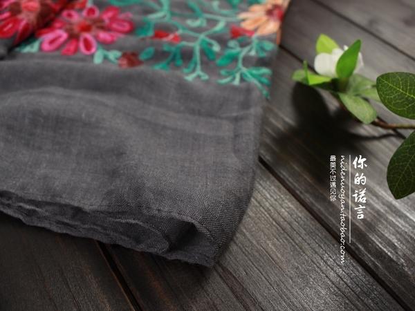 降價兩天 繡花中國風復古刺繡棉麻圍巾 女士春秋防曬披肩民族風絲巾