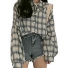 EASON SHOP(GW6207)韓版撞色格紋薄款前短後長排釦開衫長袖襯衫外套罩衫女上衣服防曬衫空調衫格子