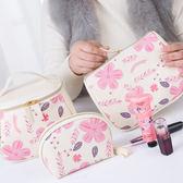 《J 精選》甜美少女風PU仿皮化妝包/盥洗包/配件收納包(3件組)