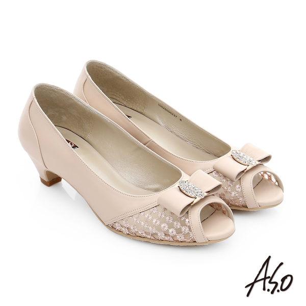 A.S.O 減壓美型 珠光真皮鑽飾織網布低跟魚口鞋  粉紅