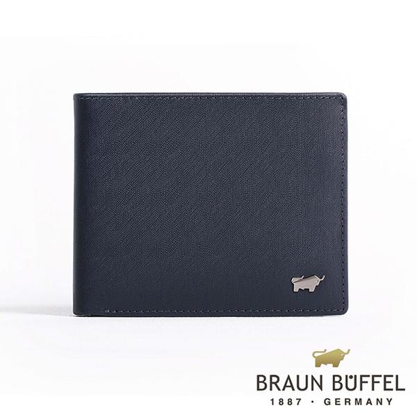 【BRAUN BUFFEL】HOMME-M系列8卡中翻窗格零錢皮夾 -深藍 BF306-318-MAR