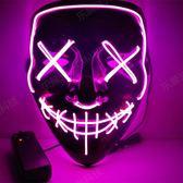 手工萬圣節LED面具 抖音技術流同款道具 熒光V字恐怖發光面具爆閃