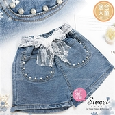 【封館5折】珍珠織花綁帶牛仔短褲熱褲(310147)