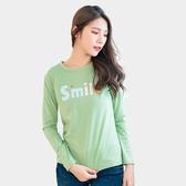 棉T--休閒簡約可愛微笑英字印花寬鬆百搭舒適圓領長袖T恤(粉.綠M-3L)-F151眼圈熊中大尺碼◎