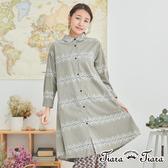 【Tiara Tiara】百貨同步aw 民俗風花樣純棉襯衫式洋裝(灰/黑)