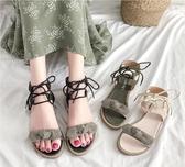 涼鞋女平底鞋蝴蝶結夏季新款學生可愛仙女風ins潮網紅女鞋子