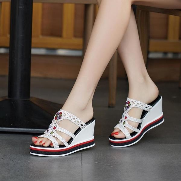 雪地意爾康夏新款高跟厚底楔形涼拖女百搭防滑厚底涼鞋女外穿