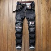 特惠 外貿亞馬遜新款男式牛仔褲破洞小直筒修身彈力青少年休閑男牛仔褲