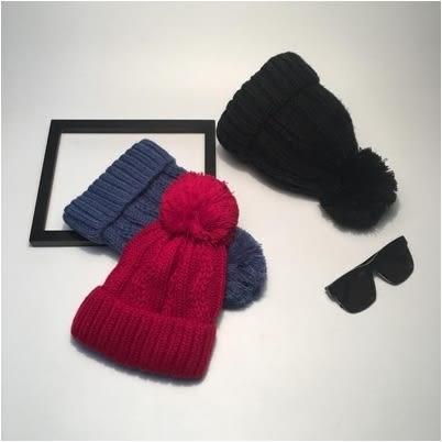 韓版毛球毛線帽時尚百搭加厚保暖套頭針織帽潮