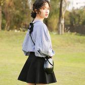 2018春款小清新文藝范學院風條紋襯衫女長袖韓版寬鬆上衣