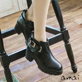 amai金屬皮帶造型夾心厚底機車靴 黑
