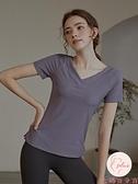 大碼健身上衣女夏季薄款短袖顯瘦V領運動T恤健身上衣【大碼百分百】
