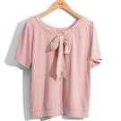 [H2O]兩面穿領穿絲巾裝飾針織造型上衣 - 藍/白/粉色