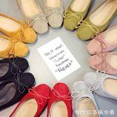 春季新款方頭豆豆鞋女鞋淺口平底鞋孕婦鞋樂福鞋蝴蝶結單鞋懶人鞋 糖糖日系森女屋