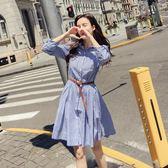 精選38折 韓國風名媛收腰條紋襯衫裙長袖洋裝