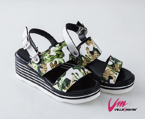 Velle Moven 涼鞋 迷彩網格波跟涼鞋  涼夏必備 /綠色