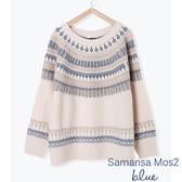 「Hot item」幾何圖案彩色鉤織針織衫 - Sm2 BLUE