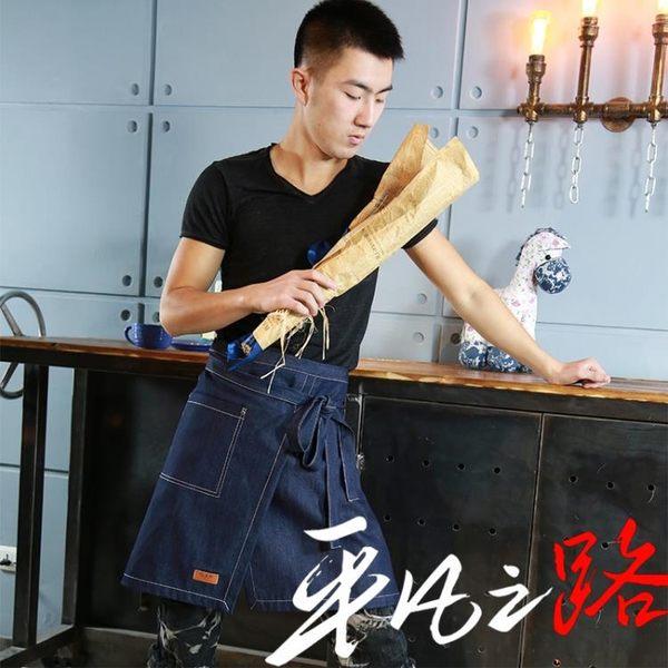 圍裙正韓時尚廚房半身餐廳美甲牛仔圍裙可愛創意歐式工作服女定制logo