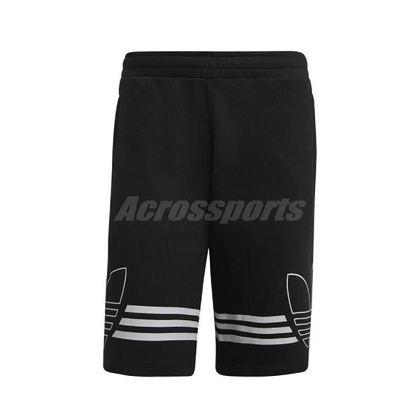 adidas 短褲 Originals Outline Shorts 黑 白 男款 輪廓 三葉草 三條線 足球 【PUMP306】 ED4696