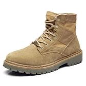 馬丁靴男靴子軍靴戶外中筒工裝沙漠靴男士春季冬季高筒男鞋短靴潮 居享優品