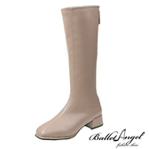 長靴 絕對品味車線方頭長筒跟靴(卡其)*BalletAngel【18-9991ca】【現+預】