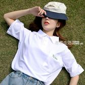 polo衫 原宿polo衫女可愛短袖新款寬松bf軟妹T恤夏季ins小清新上衣服·夏茉生活