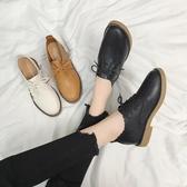 ins小皮鞋女秋季新款平底英倫風復古女鞋百搭韓版學生單鞋子 交換禮物