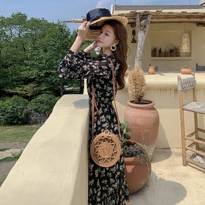 度假洋裝 歐陽娜娜同款碎花雪紡連身裙長裙收腰顯瘦氣質春秋8231#