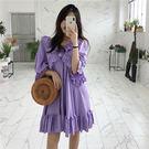 超美 荷葉邊 娃娃裝 洋裝 寬鬆 連衣裙 魚尾 木耳邊 短袖 顯瘦 女神 浪漫 海邊 紫白 韓國 NXS