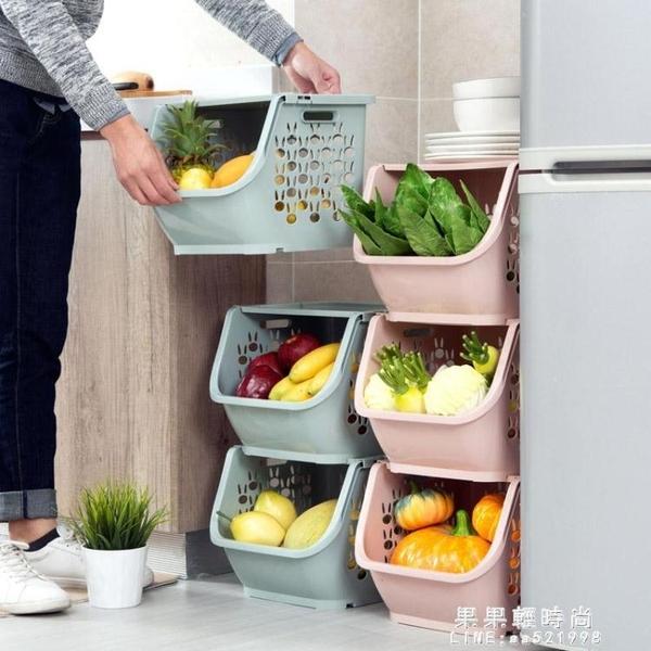 居家家 可疊加收納筐塑料玩具收納籃 廚房零食蔬菜筐子浴室置物架【果果新品】