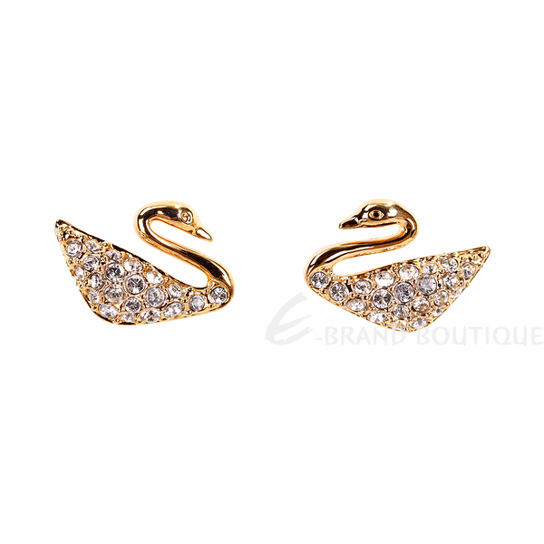 SWAROVSKI 施華洛世奇 Swan 水晶天鵝穿針式耳環(玫瑰金色) 1840284-24