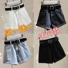 高腰牛仔短褲女寬鬆春夏季新款百搭顯瘦卷邊闊腿a字熱褲