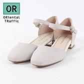 【ORiental TRaffic】優雅方頭繞踝瑪麗珍鞋 優雅灰